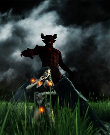 Devil in the dark forest,3d illustration Stock Photo