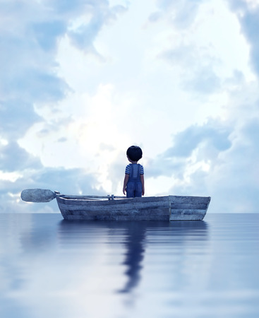 boy standing on an old wooden rowboat in the sea,3d illustration Stock Photo