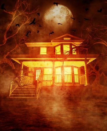 Maison hantée, illustration 3d Banque d'images