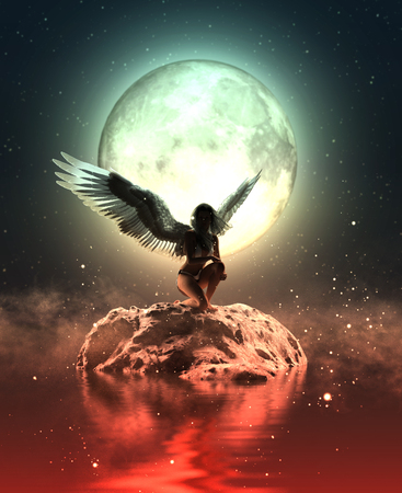3d illustration of an Angel in heaven land,Mixed media for book illustration or book cover Archivio Fotografico - 108861930