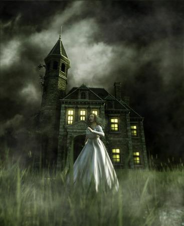 Frau läuft weg von einem Spukhaus, 3d Illustration
