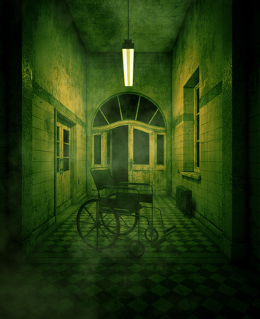 3d rendering of a wheelchair in haunted house or asylum Archivio Fotografico