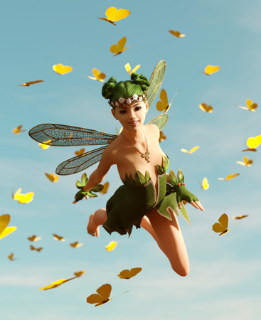 3d rendering of a fairy flying on the sky surrounded by flock butterflies Banco de Imagens