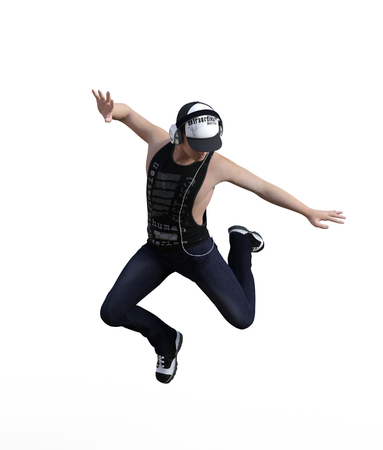 3d rendering of a Hip hop dancer jumping isolated over white background