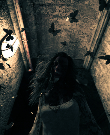 3d rendering of a ghost woman in haunted house