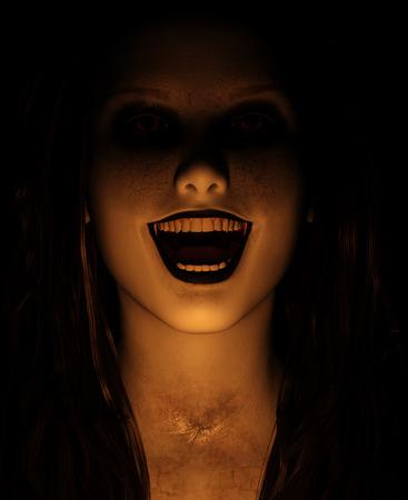 Mujer fantasma en casa embrujada, ilustración 3d