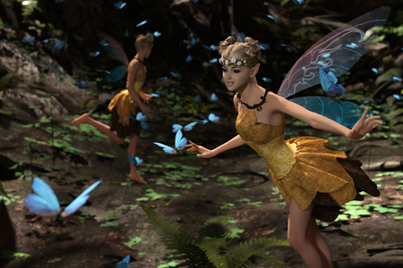 3d rendering of a fairies flying in magical forest surrounded by flock butterflies Stock Photo