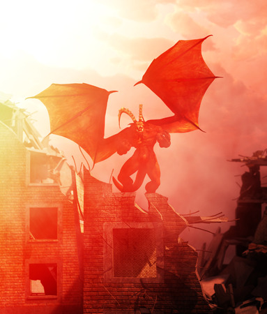 Creepy monster on top of ruined building,3d illustration