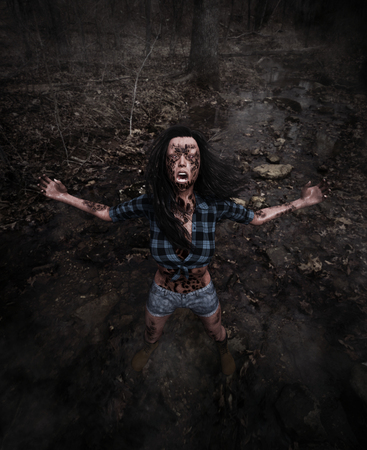 Forest of the death,3d illustration of  woman is lost in the abandoned forest and being possessed by something call evil,Scary background mixed media for book cover,book illustration