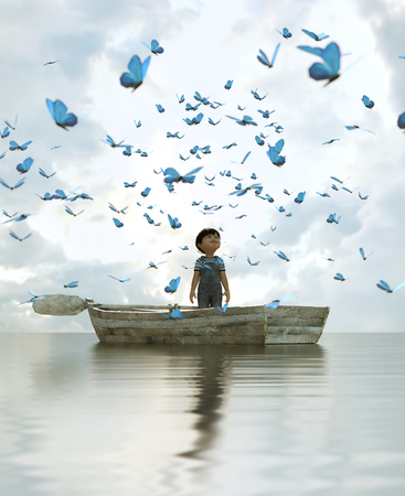 boy standing on an old wooden rowboat in the sea and looking to a flock butterflies flying above the sky,3d illustration