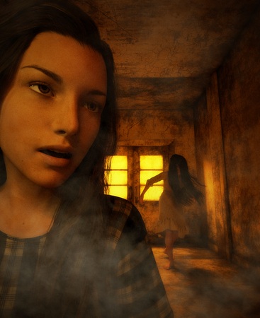 Woman lost in haunted house and a Ghost is following her,3d illustration*Night scene may contained noise and grain Stock Photo