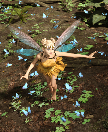 3d rendering of a fairy flying in a magical forest surrounded by flock butterflies
