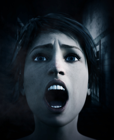 3d rendering of a woman is trying to survive in haunted house Stock Photo