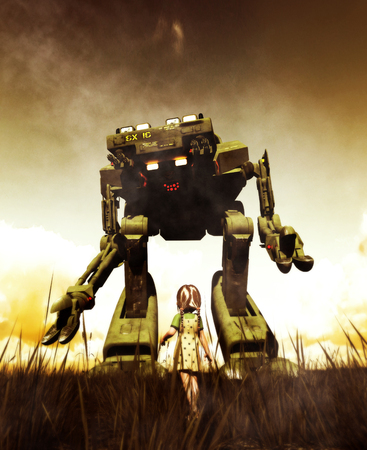 Girl looking to a giant robot in front of her,3d illustration,day scene