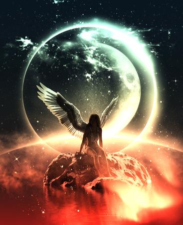 3d illustratie van een engel in hemelland, Mixed media voor boekillustratie of boekomslag