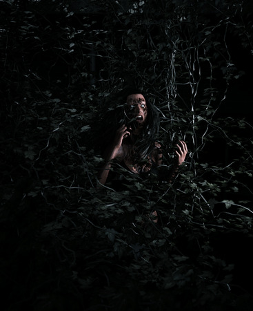 3d illustration portrait of scary ghost woman in woods vine,Horror image,Ghost image concept and ideas