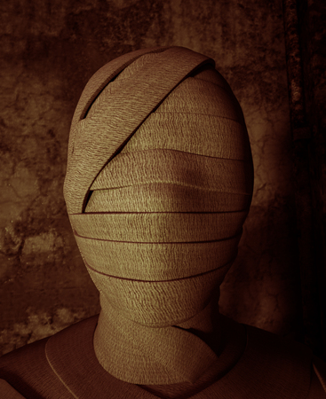 Face of Halloween mummy in haunted house,3d illustration Stock Photo