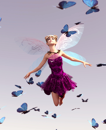 3d rendering of a fairy flying on the sky surrounded by flock butterflies Foto de archivo - 108862114