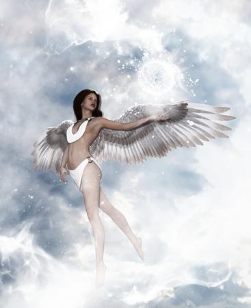 3d illustratie van een engel in hemelland, Mixed media voor boekillustratie of boekomslag Stockfoto