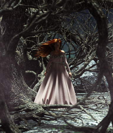 Ghost woman in the woods,3d illustration for book illustration or book cover Stock Photo