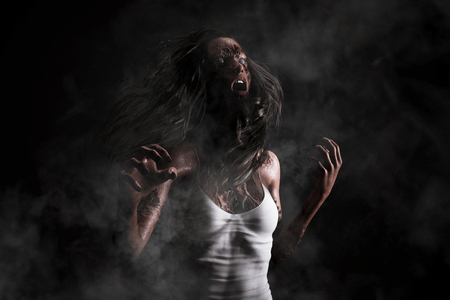 3d illustration portrait of scary ghost woman,Horror image,Ghost image concept and ideas Banco de Imagens