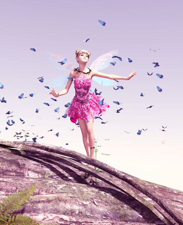 3d rendering of a fairy on a tree trunk on the sky surrounded by flock butterflies