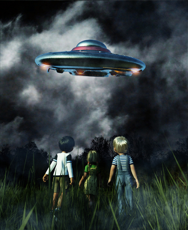 Kids looking to a UFO saucer on the sky at night,3d illustration 写真素材