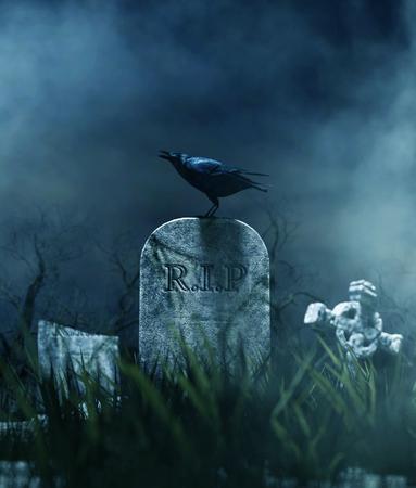 Crow on a gravestone in halloween night,3d illustration