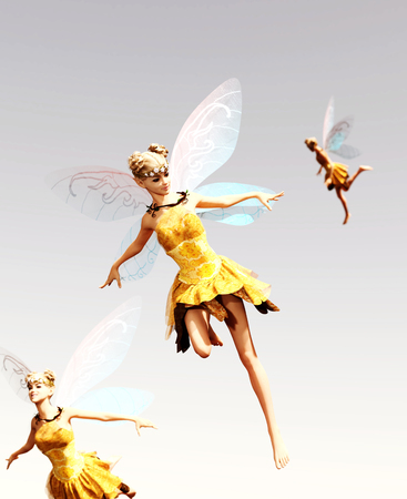 3d rendering of a fairies flying on the sky Foto de archivo - 108862161