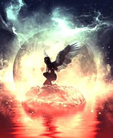 Ilustración 3d de un ángel en la tierra del cielo, técnica mixta para la ilustración del libro o la portada del libro Foto de archivo