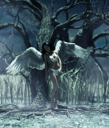 Un ange dans la forêt mystique, illustration 3d pour illustration de livre ou couverture de livre