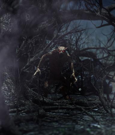 Werwolf im gruseligen Wald, 3D-Rendering für Buchumschlag oder Buchillustration