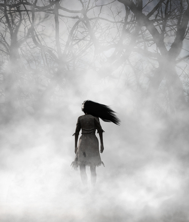 Ghost woman in foggy forest,3d Mixed media for book illustration or book cover
