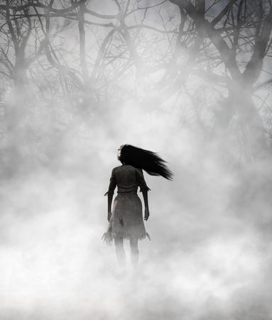 Spookvrouw in mistig bos, 3d Mixed media voor boekillustratie of boekomslag