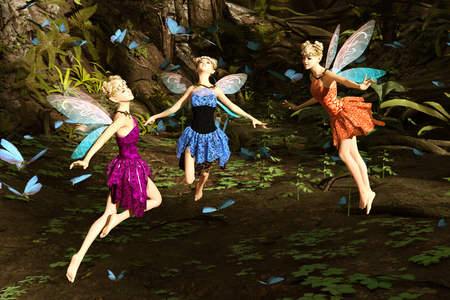 3d rendering of a fairies flying in magical forest surrounded by flock butterflies Imagens