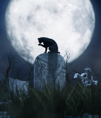Black cat sitting on a gravestone in halloween night,3d illustration Stok Fotoğraf - 108862812