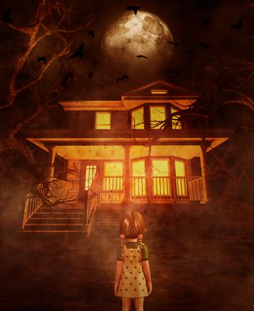 Fille regardant une maison hantée, illustration 3d Banque d'images
