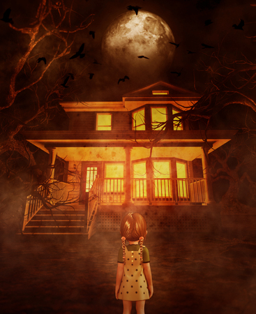 Girl looking at a haunted house,3d illustration Imagens