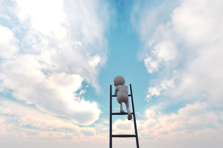 3d illustration of 3d stick man climbing stair to the sky for pursuit his dream