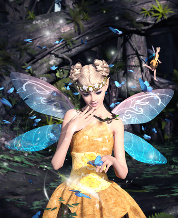 3d rendering of a fairies in magical forest Imagens