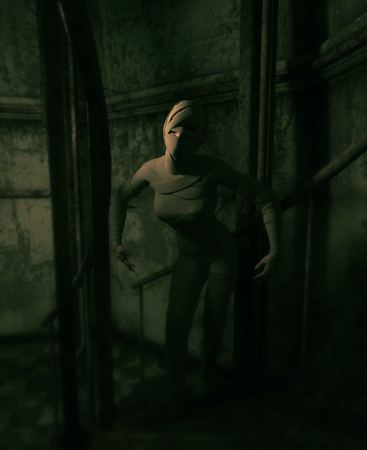 Halloween mummy in haunted house or woman with bandages on her in abandoned building,3d illustration Stock Photo