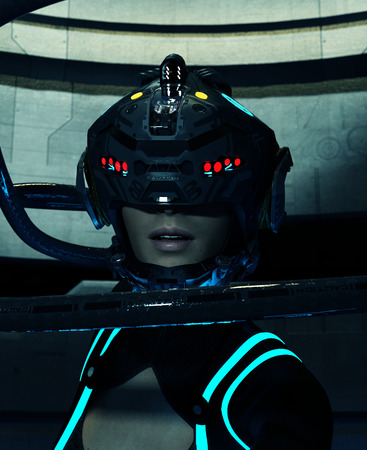 woman in futuristic outfit,Fantasy scifi 3d illustration