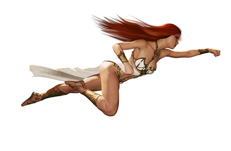 3d rendering of a Goddess woman in fight poses,isolated on white easy to edit and combine for your project such as book cover or book illustration