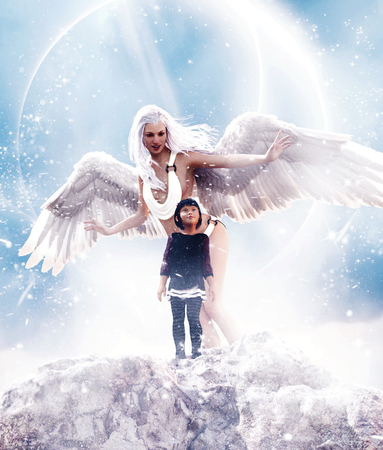 Guardian angel,3d Mixed media for book illustration or book cover