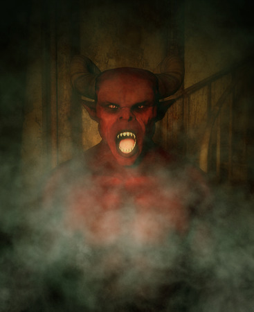 Demon in haunted house,3d illustration