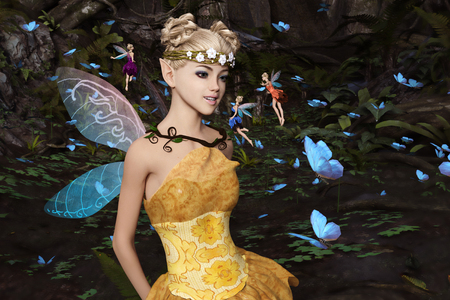 3d rendering of a fairies flying in magical forest surrounded by flock butterflies Banco de Imagens