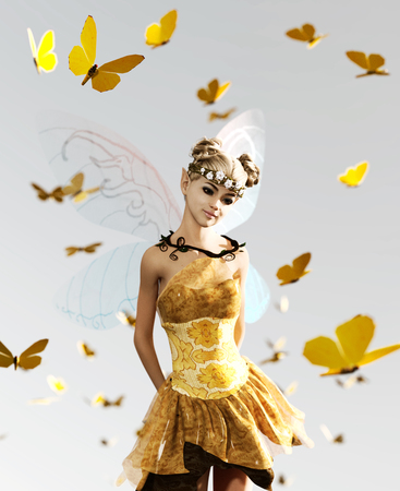 3d rendering of a fairy flying on the sky surrounded by flock butterflies Imagens