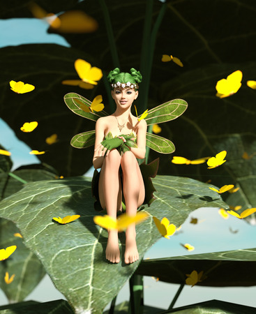 3d rendering of a happy fairy sitting on a big green leaf and surrounded by flock butterflies