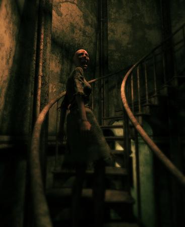Femme fantôme dans la maison hantée, illustration 3d Banque d'images