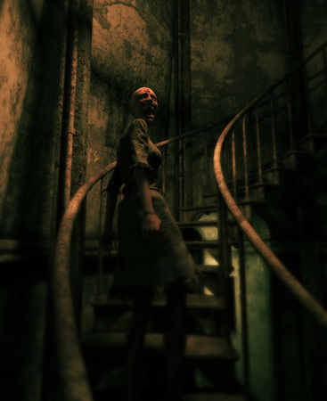Ghost woman in haunted house,3d illustration